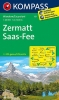 Kompass: WK 117 Zermatt-Saas Fee 1:50 000